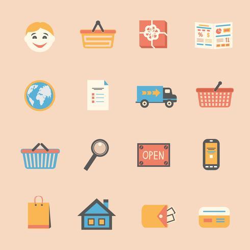 Conjunto de ícones de compras na Internet vetor