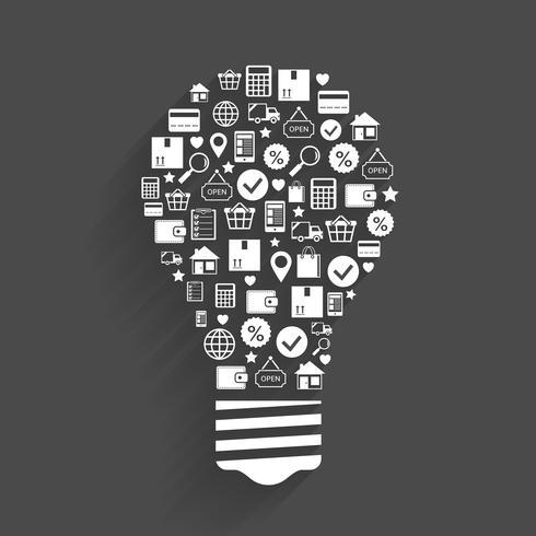 Conceito de idéia de inovação de compras de Internet vetor