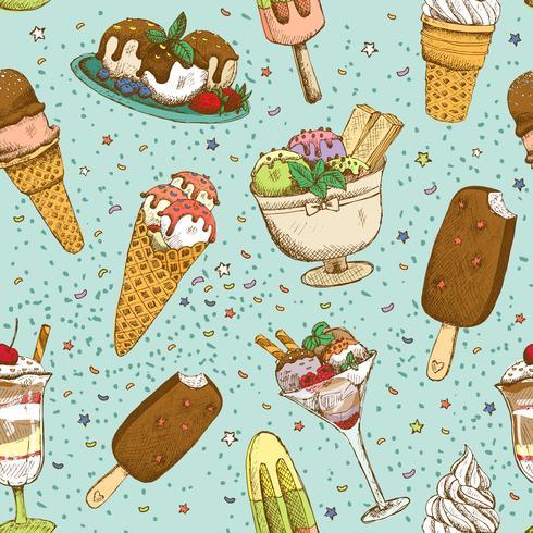 Padrão de fundo sem emenda de sorvete vetor