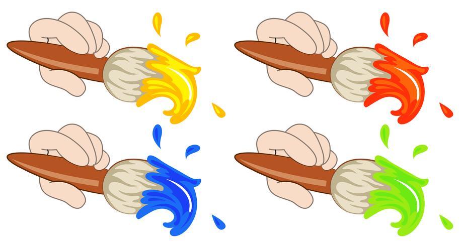 Quatro pincéis coloridos vetor