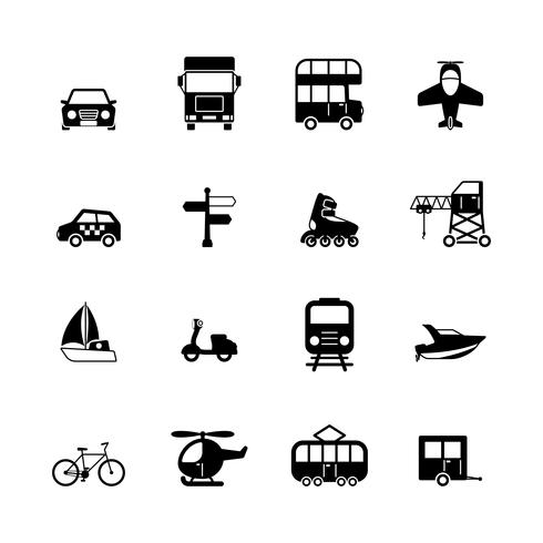 Coleção de pictogramas de transporte vetor