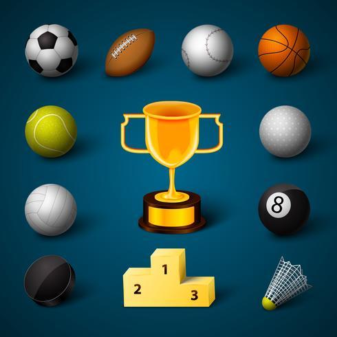 Conjunto de ícones realista de esportes vetor
