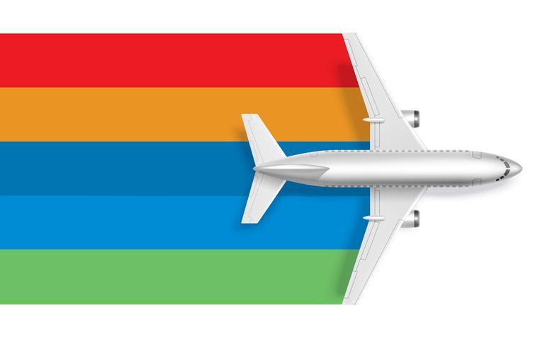 Avião com arco-íris em branco para o texto da mensagem vetor