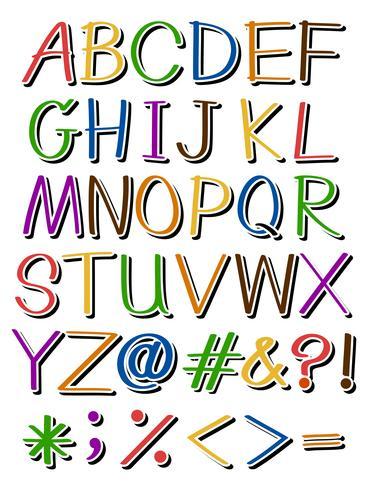Letras em cores diferentes vetor