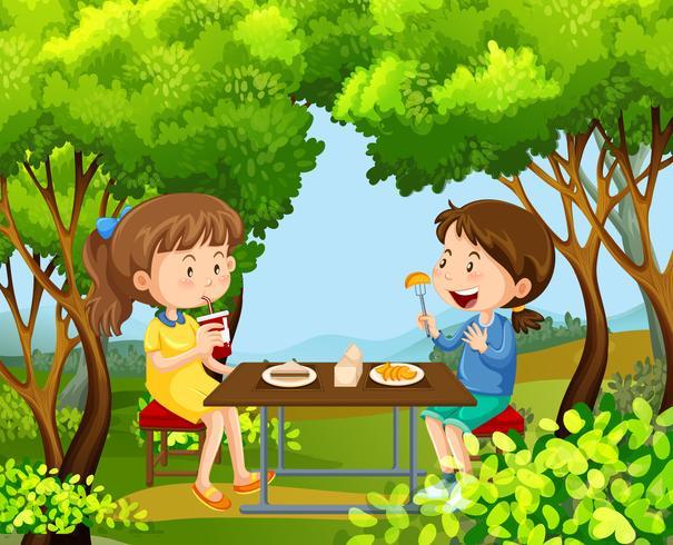 Duas meninas, tendo piquenique, em, a, madeiras vetor