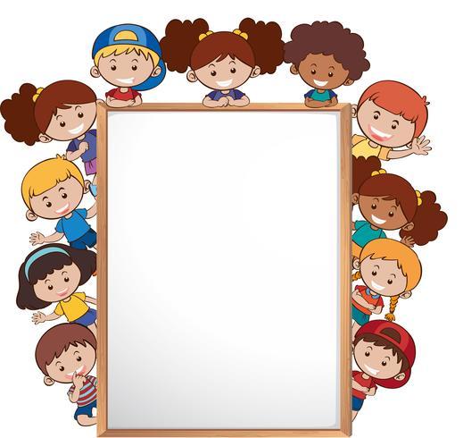 Crianças internacionais e modelo de quadro branco vetor