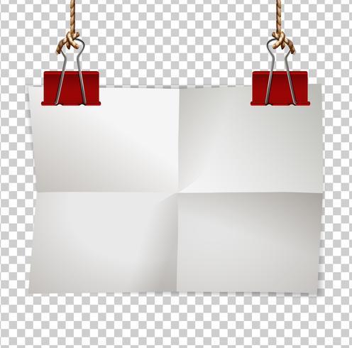 Modelo de fronteira com clipes de papel e vermelho vetor