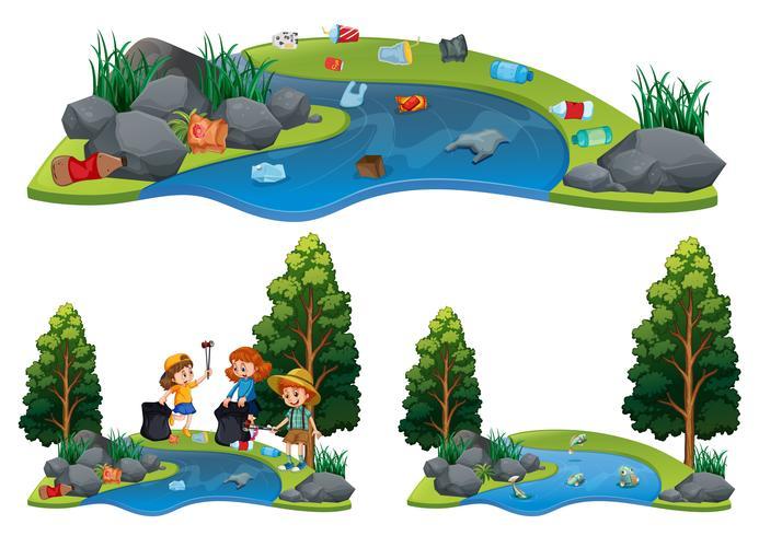 Um conjunto de rio sujo e limpo vetor