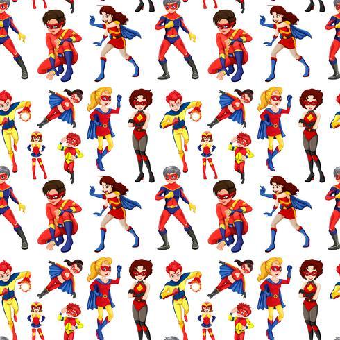 Super-heróis masculinos e femininos sem costura vetor