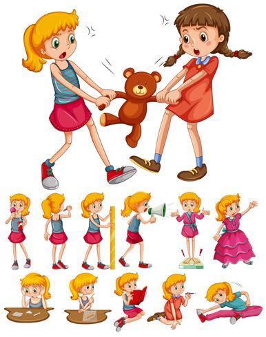 Meninas em diferentes atividades vetor