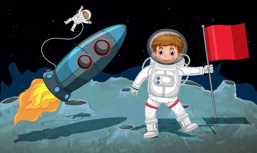 Tema do espaço com astronautas trabalhando na lua vetor