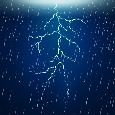 Chuva forte e trovoada à noite vetor