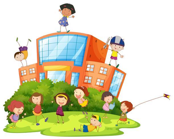 Crianças, tocando, em, escola vetor