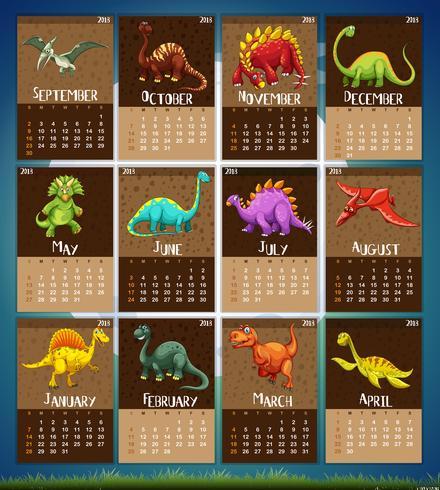 Modelo de calendário com 12 dinossauros vetor