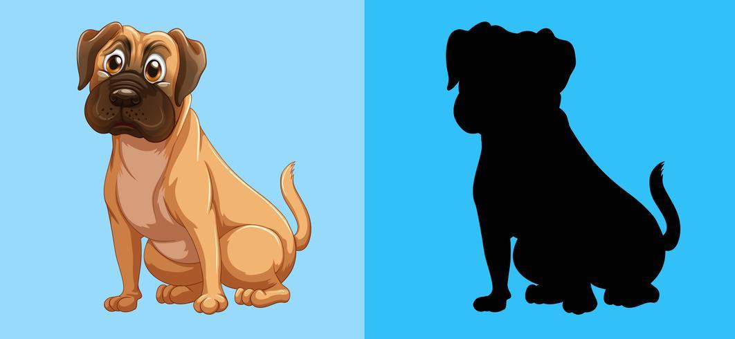 Cão de silhueta em fundo azul vetor
