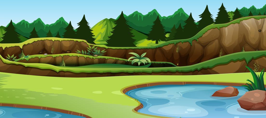Uma cena do lago simples vetor