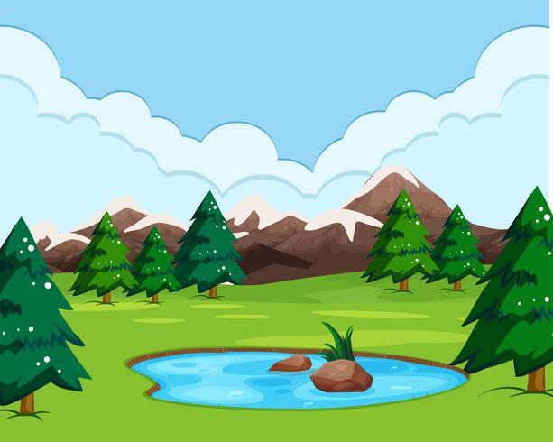 Uma paisagem com vista da natureza vetor
