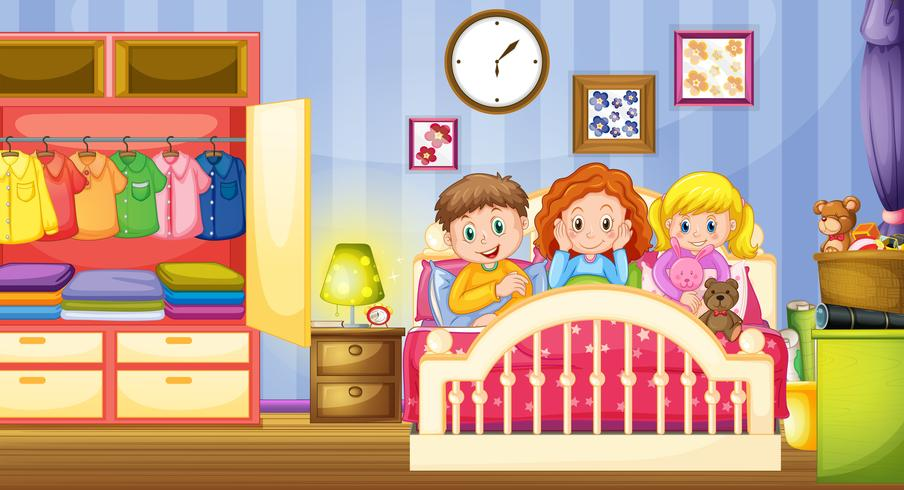 Três crianças dormindo no quarto vetor