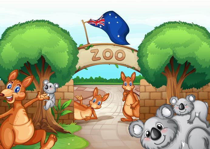 Cena do jardim zoológico vetor