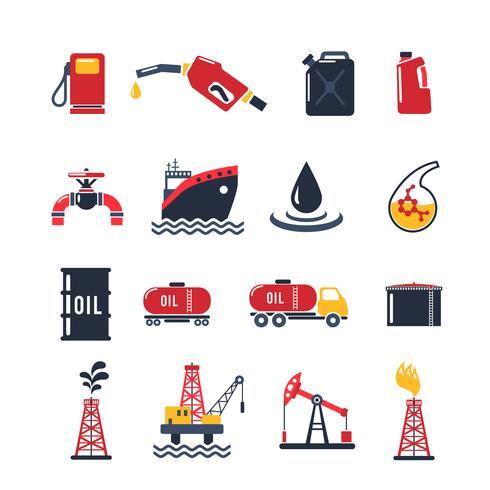Conjunto de ícones de indústria de petróleo vetor
