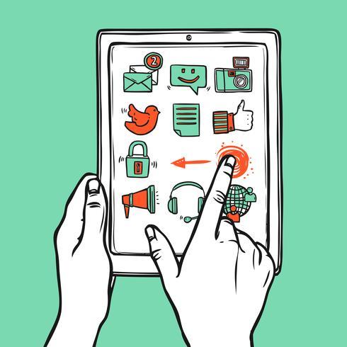 Tablet de mídia social vetor