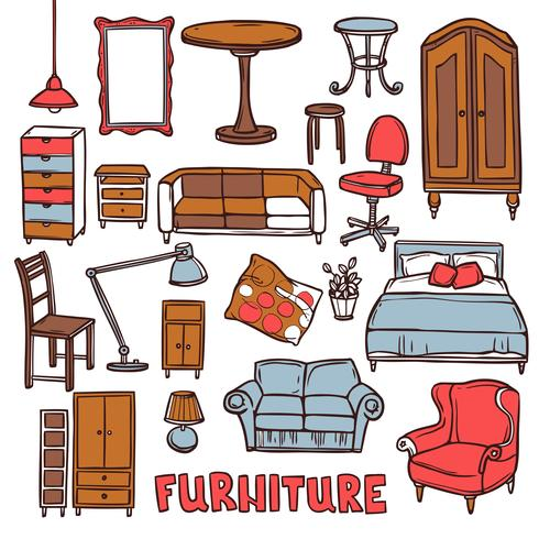Conjunto de móveis para casa vetor
