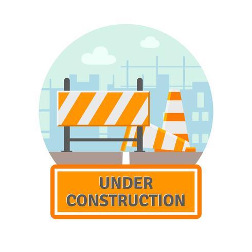 Sob o ícone plano de construção vetor