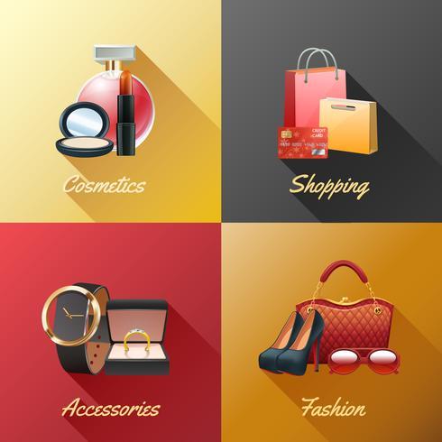 Conceito de Design de compras de mulheres vetor