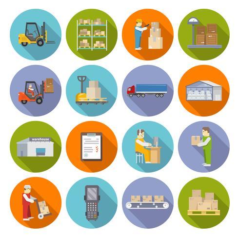 Conjunto de ícones de armazém plano vetor