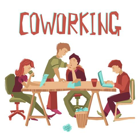 Conceito de centro de coworking vetor