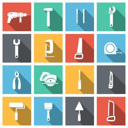 Conjunto de ícones plana de ferramentas vetor