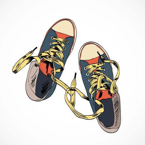 Esboço de sapatos coloridos vetor