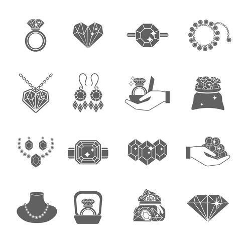 Conjunto de ícones de jóias preciosas vetor