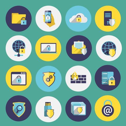 Conjunto de ícones de segurança de tecnologia de informação vetor