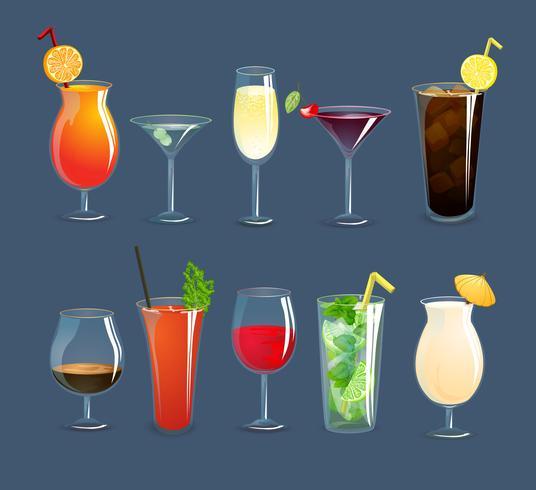 Conjunto de copos de bebidas vetor