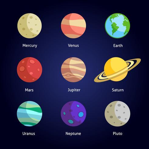 Conjunto decorativo de planetas vetor