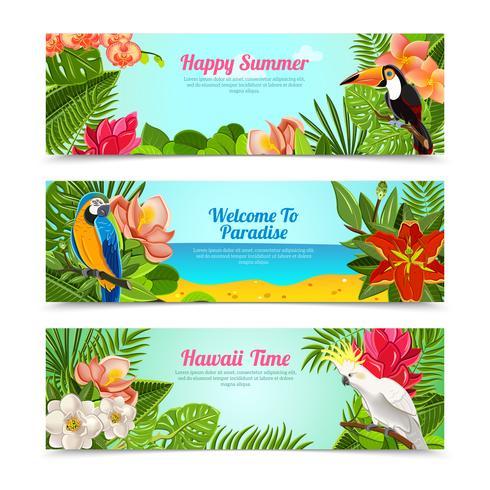 Conjunto de bandeiras horizontais de flores ilha tropical vetor
