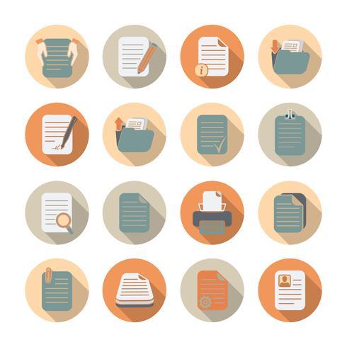 Conjunto de ícones de arquivos e pastas de documentos vetor