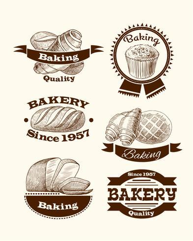 Sinais de pastelaria e pão vetor