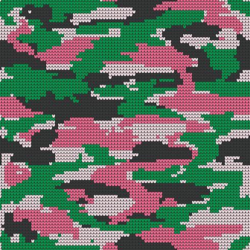Textura sem emenda de confecção de malhas abstrata. Fundo decorativo militar do teste padrão da camuflagem. Ilustração vetorial. vetor