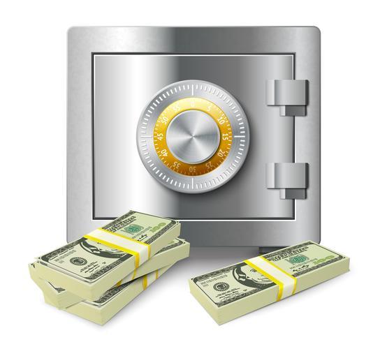Pilha de dinheiro e conceito seguro vetor