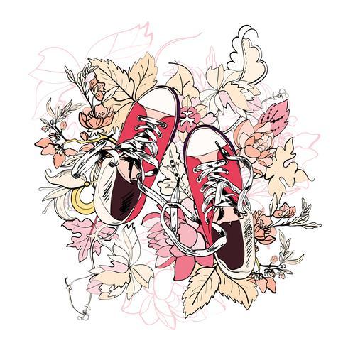 Flor de esboço de gumshoes vetor