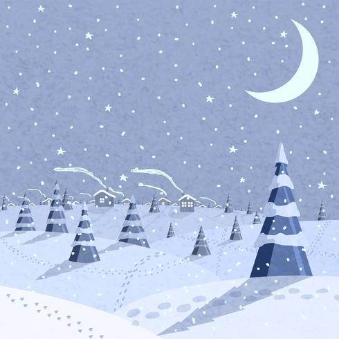Cena de paisagem de inverno vetor