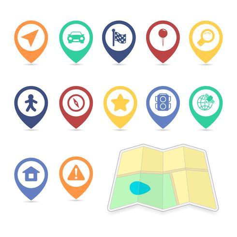 Elementos de design de interface do usuário de localização, cor de contraste vetor