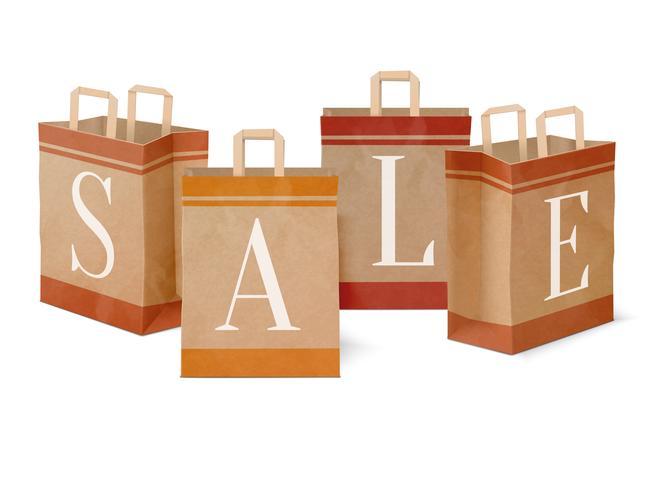 Sacos de compras de papel de venda vetor