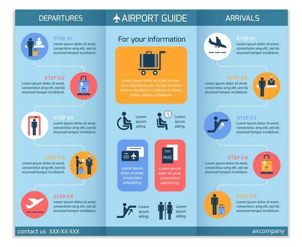 Folheto de infográfico de negócios de aeroporto vetor