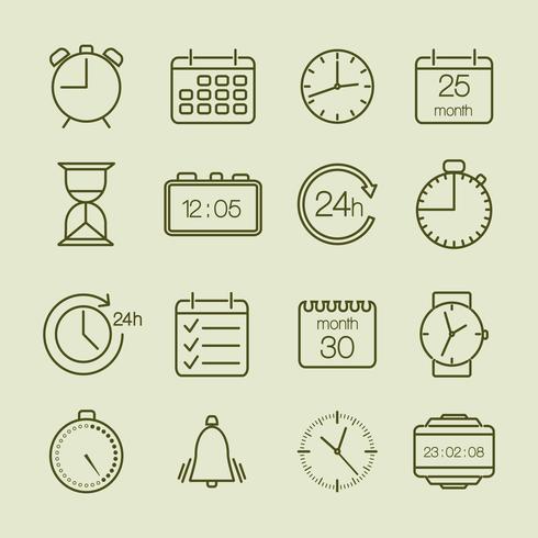 tempo simples e ícones de calendário vetor