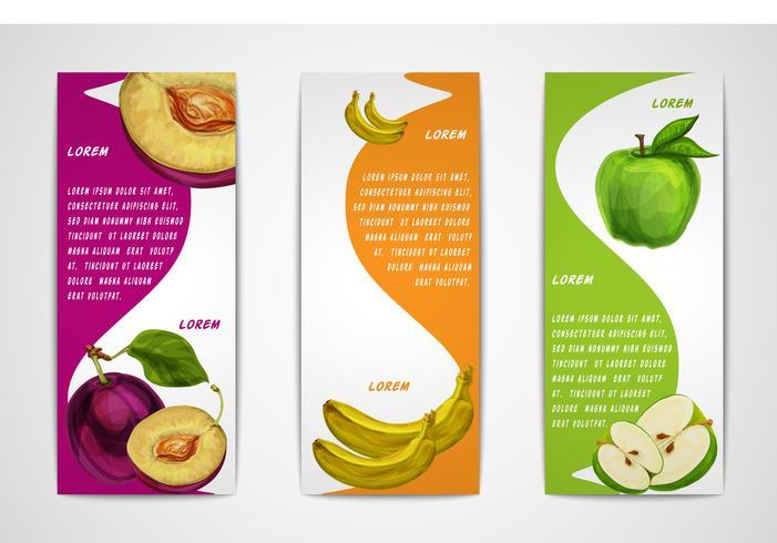Coleção de banners de frutas orgânicas mistas vetor