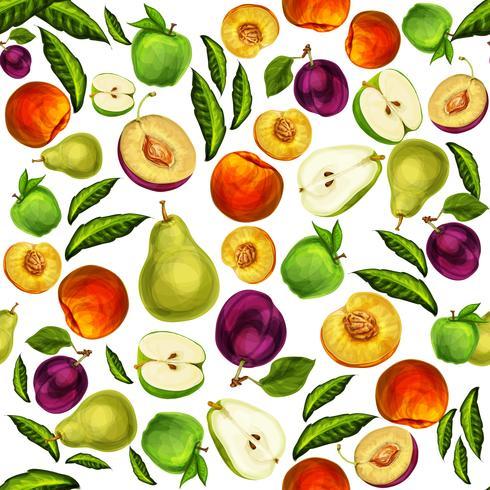 Fundo de padrão sem emenda de frutas mistas vetor