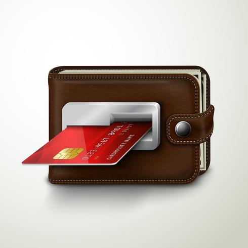 Máquina de banco atm de carteira de couro marrom vetor